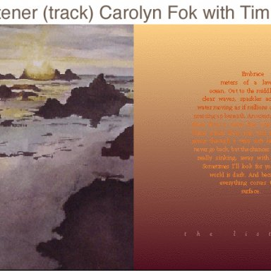 """The Listener"" Carolyn Fok, with Tim Story"